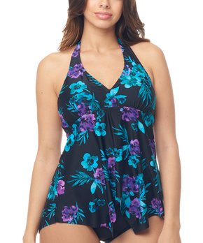 5763a9f79d Love My Curves | Black & Blue Floral Halter Tankini Top - Women