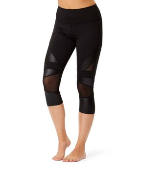 fd9ee2cad4467f 13 viewing. Therapy | Black Mesh-Instert Contrast Performance Capri Leggings  ...