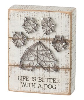Primitives by Kathy | 'Life is Better with a Dog' String Art Block