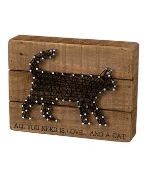 Primitives by Kathy | 'All You Need is Love and a Cat' String Art Box Sign
