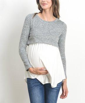 8600650f163c0 Hello Miz Maternity | Gray Ruched Maternity/Nursing Tee · all gone