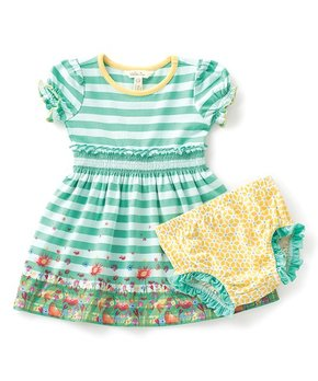 Green & White Field of Daisies Dress & Diaper Cover - Infant