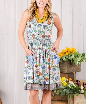 Blue & Green In Full Bloom Dress - Women