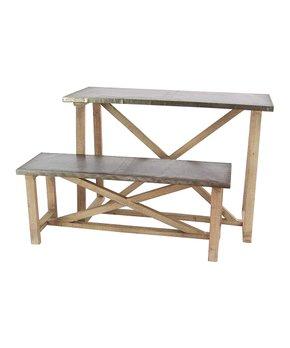 Uma Enterprises Metal Wood Table Bench Set