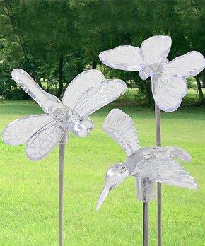 Exhart | Solar Butterfly, Hummingbird & Dragonfly Garden Stake Set