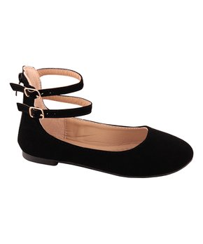Belladia | Black Ankle-Strap Stanly Flat - Girls