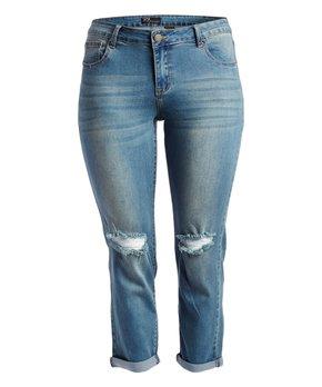 Rock and Royal | Dark Blue Distressed-Knee Crop Jeans - Plus
