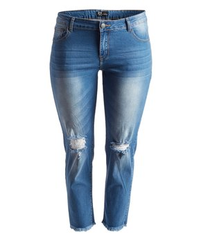Rock and Royal | Light Blue Distressed Crop Jeans - Plus