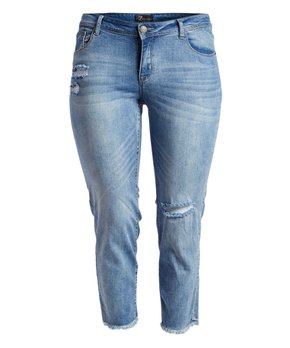 Rock and Royal | Light Blue Weathered Crop Jeans - Plus