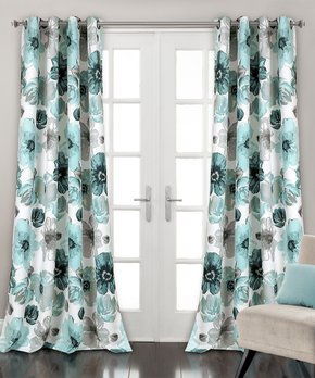Lush Décor | Blue Floral Leah Room-Darkening Curtain Panel - Set of Two
