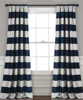 Lush Décor | Navy Stripe Blackout Curtain Panel - Set of Two