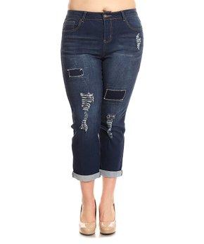 Be Girl Clothing | Dark Wash Roll-Cuff Distressed Boyfriend Crop Jeans - Women & Plus