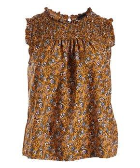 Zenobia | Mustard Floral Shirred Sleeveless Top - Plus