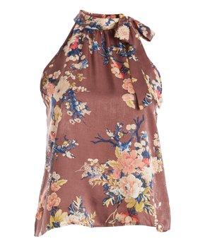Zenobia | Mauve Floral Tie-Neck Sleeveless Top - Plus