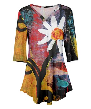 Simply Aster | Yellow & Black Floral V-Neck Tunic – Women & Plus