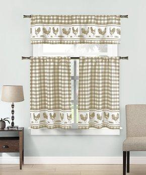 Duck River Textile | White & Chocolate Tatum Kitchen Curtain Set