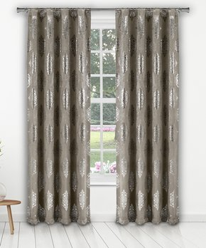 Duck River Textile | Taupe Floral Gala Three-Piece Curtain Panel Set