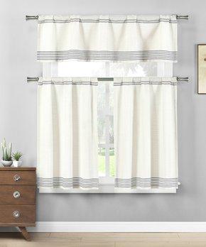 Duck River Textile | Coffee & White Helen Three-Piece Curtain Panel Set