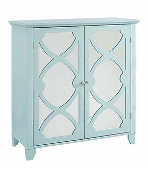 Linon Home   Seafoam Mirrored Two-Door Cabinet