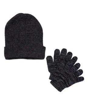 99e926a504daa Black   Rainbow Beanie   Gloves Set - Girls