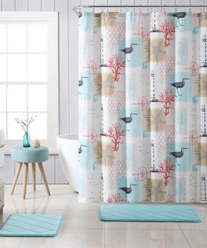 VCNY Home | Aqua Cape May Lighthouse 15-Piece Microfiber Shower Curtain Set