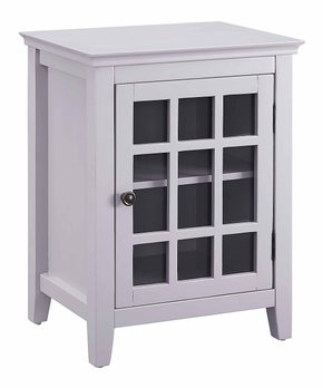 Linon Home   Gray Leslie Single-Door Cabinet