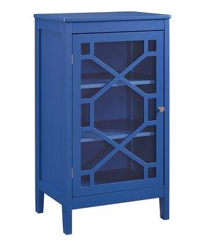 Linon Home   Blue Felicia Single-Door Cabinet