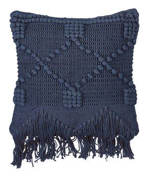 Blue Fringe Throw Pillow