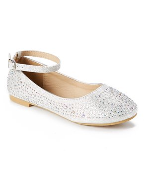 Adorababy | Silver Rhinestone Ankle-Strap Flat - Girls