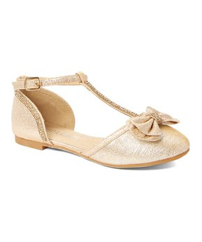 Adorababy | Champagne Bow Ankle T-Strap Flat - Girls