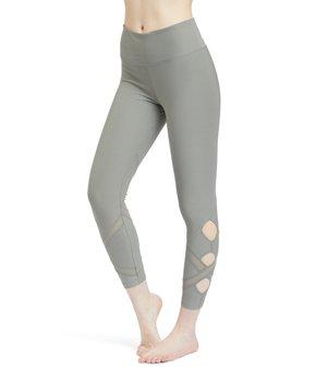 03c9fff65b932 VOGO | Olive attice-Accent Cutout Crop Leggings - Women