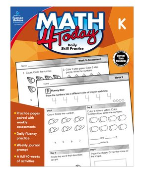 Carson Dellosa | Kindergarten Math 4 Today Workbook