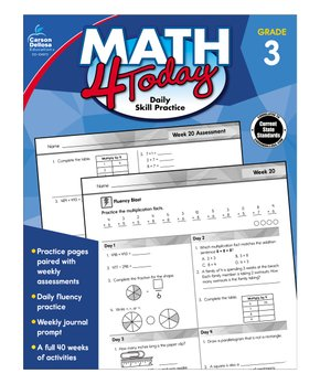 Carson Dellosa | Grade 3 Math 4 Today Workbook