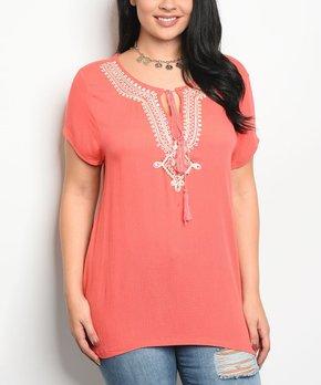 Celeste | Ivory & Pink Floral Lace-Accent Tunic - Plus
