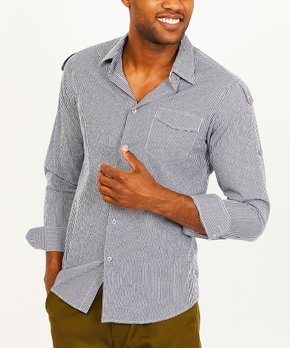 St. Lynn   Gray & Red Stripe Organic Cotton Button-Up – Men