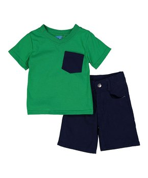 Sweet & Soft | Green Pocket-Front V-Neck Tee & Navy Shorts – Infant & Toddler