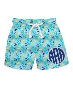 8882a80cff Monday's Child | Light Blue Nautical Monogram Swim Trunks - Infant, T…