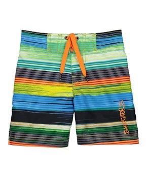 Skechers | Blue & Orange Stripe Board Shorts – Toddler & Boys
