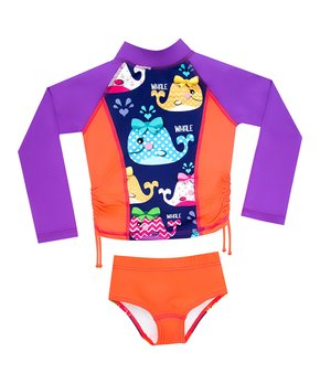 6ed93d380af5a Color Fingers | Purple & Orange Whales Long-Sleeve Rashguard Set - To…