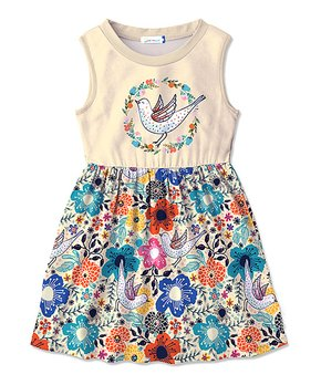 Penelope Plumm | Ecru Bicycle Angel-Sleeve Dress – Toddler & Girls – …