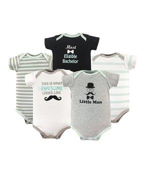 ccb63ca253ac Luvable Friends   Gray 'Little Man' Basic Bodysuits Set - Infant