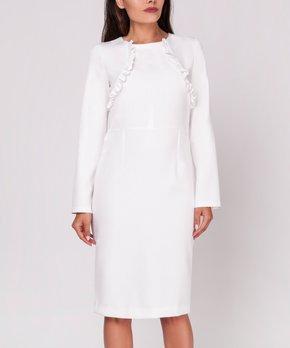 555c958a all gone. Foggy   Ecru Ruffle-Accent Long-Sleeve Dress - Women