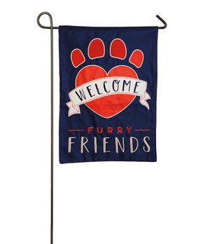 Evergreen | Red 'Welcome' Bright Florals Outdoor Flag