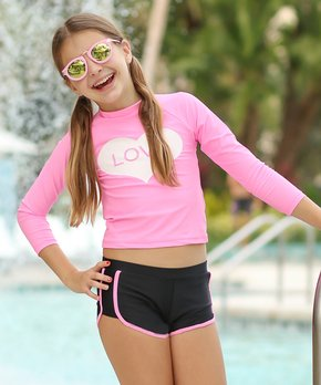 204e7bae386a7 Mia Belle Girls | Pink & Black 'Love' Rashguard Set - Girls