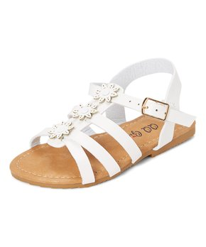 QQ Girl | White Floral-Accent Sandal - Girls
