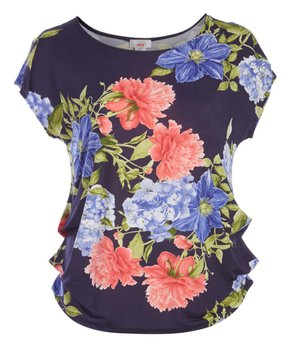 MOA Collection | Navy & Pink Floral Cap-Sleeve Top - Plus