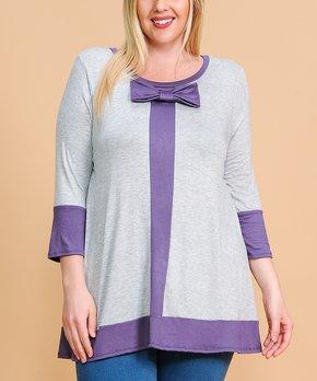 MOA Collection | Burgundy & Gray Floral Color Block Raglan Tunic - Plus