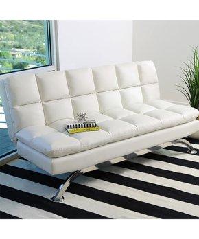 Abbyson Living   White Vienna Bonded Leather Euro Lounger Sofa