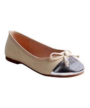 LULU BELLE | Fuchsia & Silver Cap Toe Ballet Flat - Girls