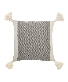 Gray & Ecru Tassel Throw Pillow